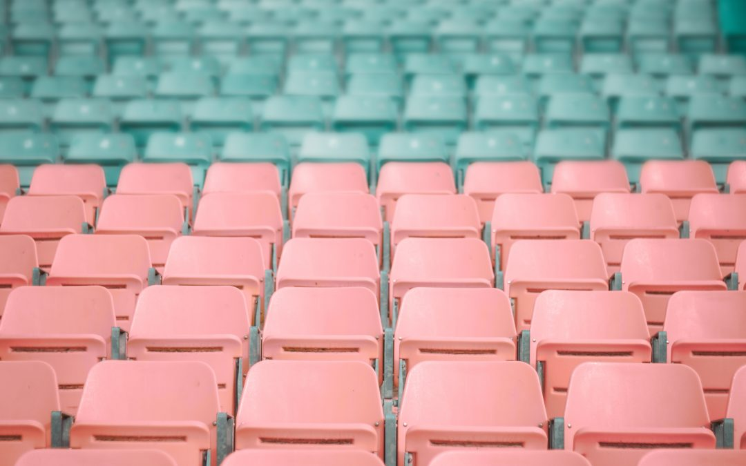 Empty pink and blue chairs